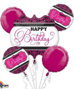 Pink, Black, White Birthday Balloon Bouquet