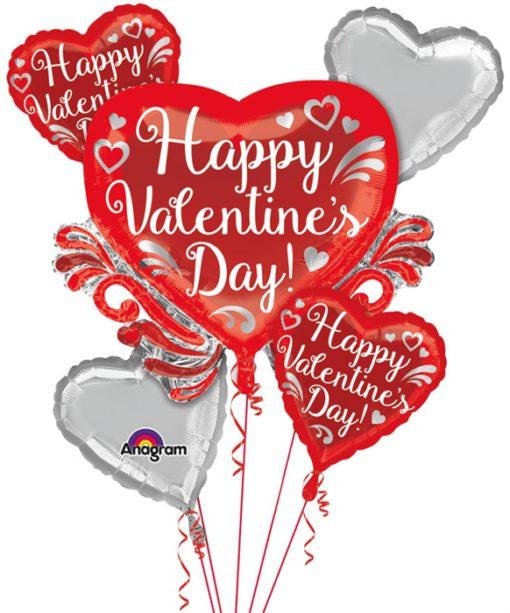 Bouquet Fancy Swirls Happy Valentine's Day Balloon