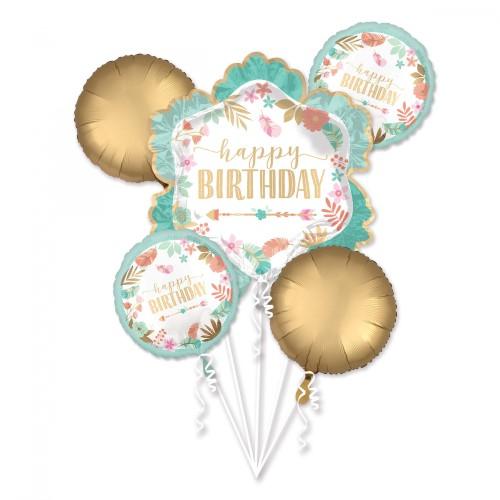 Bouquet Boho Birthday Girl Foil Balloon